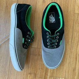 Vans Mens Skate Shoes Gray Black Green Sz 10